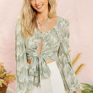 WHITNEY Halter Front Tie Blouse